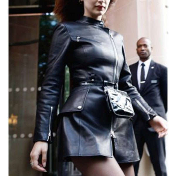 Bella Hadid Black Women Leather Coat
