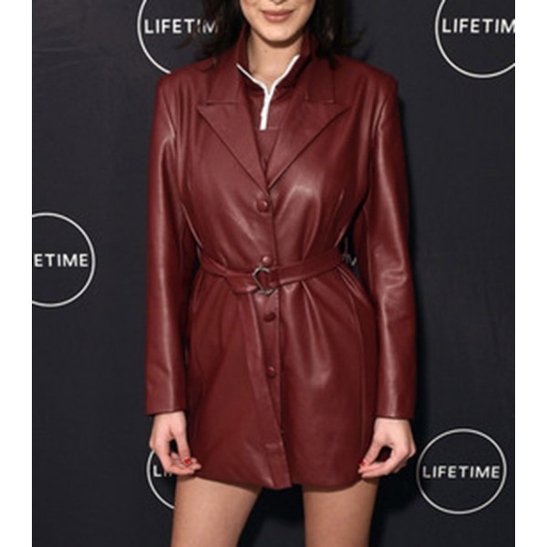 Bella Hadid Brown & Red Women Leather Coat
