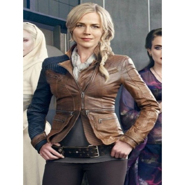 Julie Benz Defiance Stylish Brown Leather Jacket