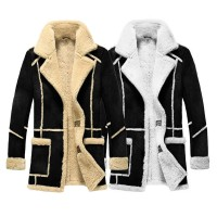 Men Designer Fur Shearling Sheepskin Black Coat