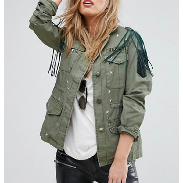 Womens Replay Hollywood Army Green Jacket