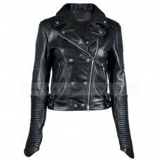 Balmain Women Black Biker Leather Jacket