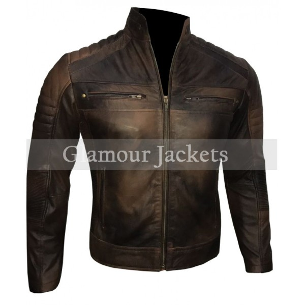 Cafe Racer Vintage Brown Leather Jacket