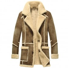 Men Designer Fur Shearling Sheepskin Coat ( Brown )