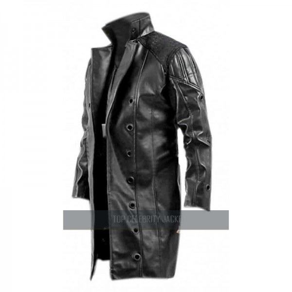 Adam Jenson Black Leather Trench Coat