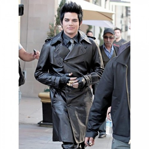 Adam Lambert American Singer Leather Trench Black Coat