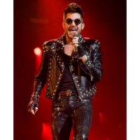 Adam Lambert Black Leather Studded Jacket