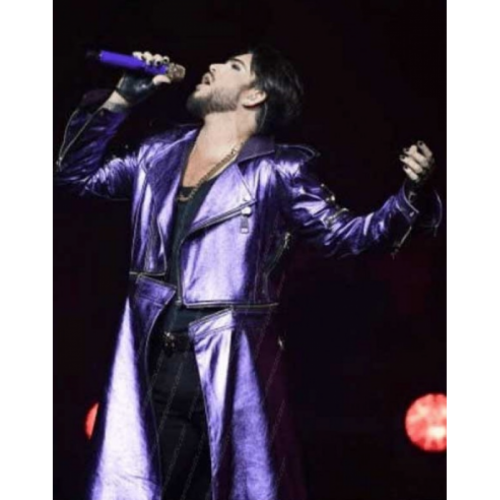 Adam Lambert Stylish Shiny Purple Coat