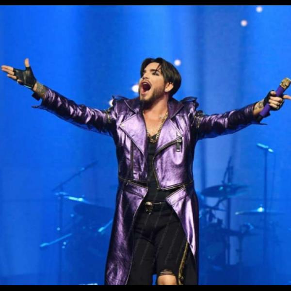 Adam Lambert Stylish Shiny Purple Coat