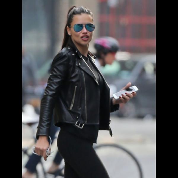 Adriana Lima Black Leather Jacket