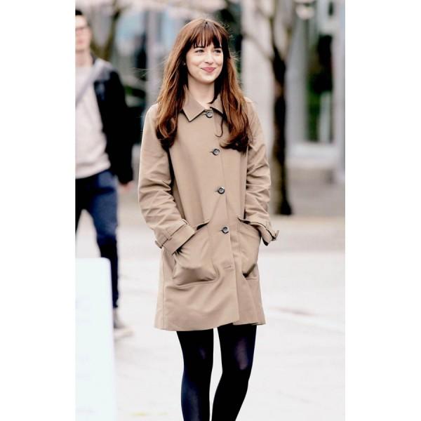 Anastasia Steele Brown Cotton Coat For Women