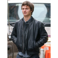 Ansel Elgort Bomber Leather Jacket