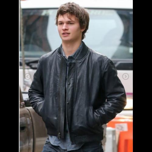 Ansel Elgort Bomber Leather Jacket