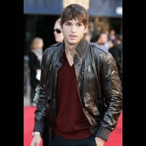 Ashton Kutcher Brown Leather Jacket