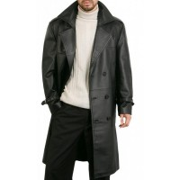 Augusta Guys Double Breasted Pure Leather Overcoat