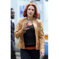 Avengers Scarlett Johanssan Brown Leather Jacket