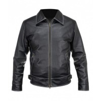 Black Leather Stitched Jacket