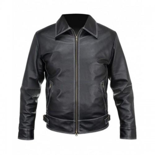 Black Leather Stitched Jacket