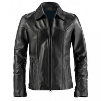 Black leather Simple Jacket