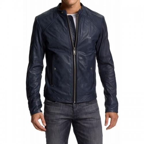 Blue Leather Front Zipper Jacket