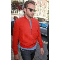 Bradley Cooper Red Suede Bomber Jacket