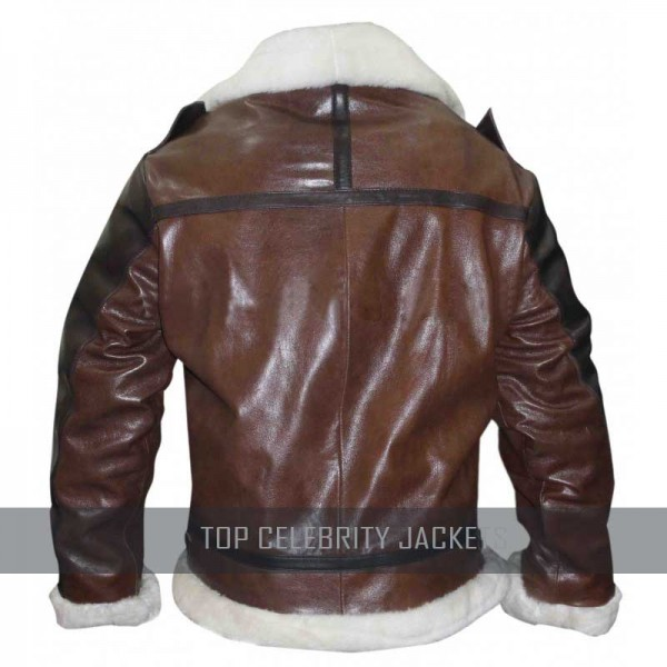 Brown And Black Bomber Jacket With Shearling
