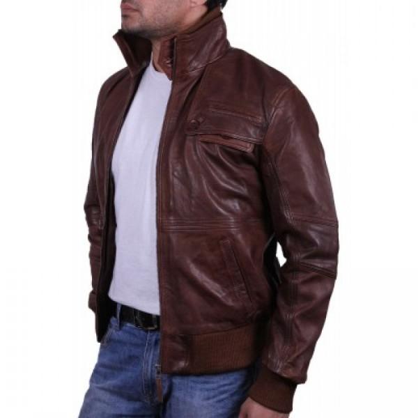 Brown Men Leather Bomber Jacket
