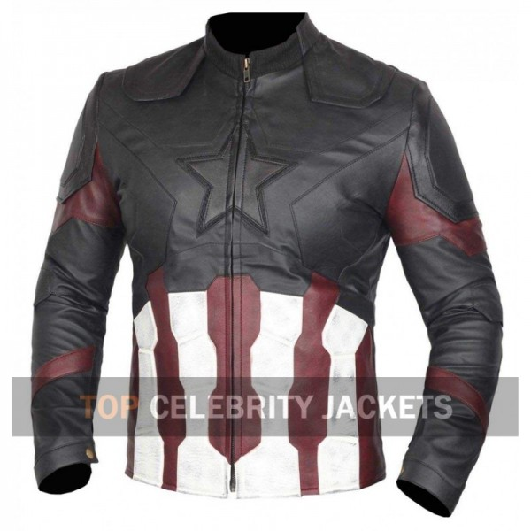 Captain America Distressed Leather Jacket