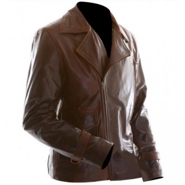Captain America Evans Brown Motorcycle Leather Jacket