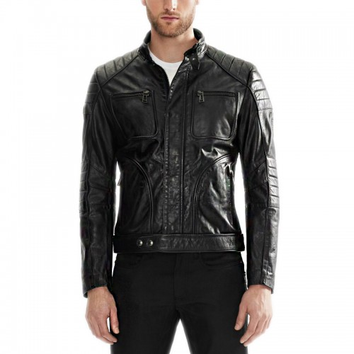 Chest Pocket Black Leather Jacket