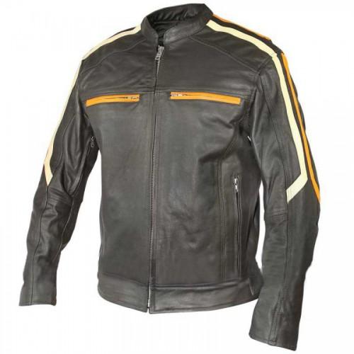 Classic Cafe Racer Motorbike Men Leather Jacket