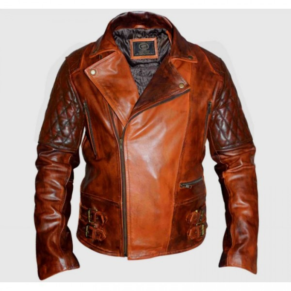Classic Diamond Biker Brown Distressed Leather Jacket