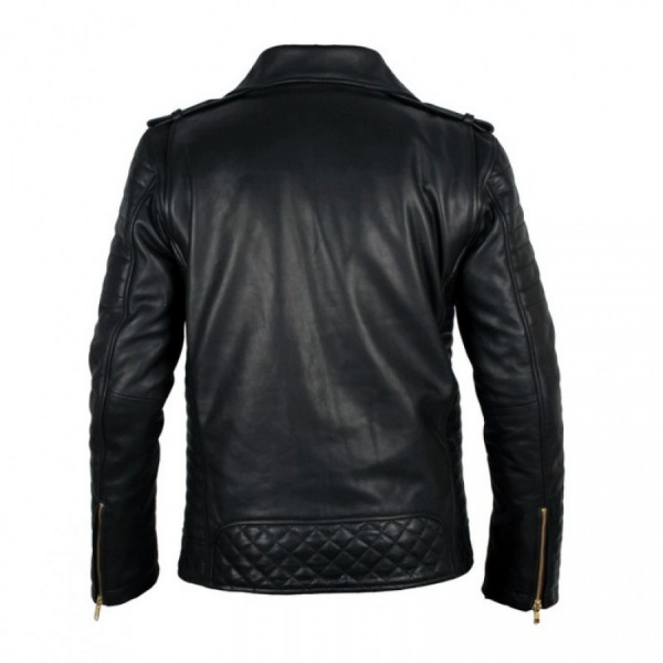 Classic Motorcycle Style Police Leather Jacket For Men