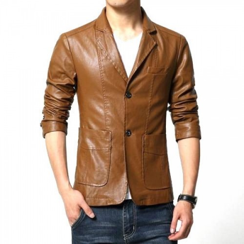 Coat Style Brown Leather Jacket