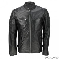 Collar Button Black Leather Jacket
