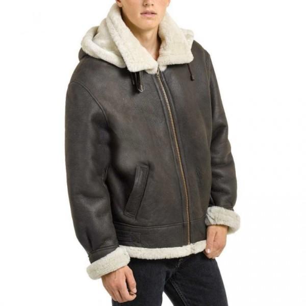 Dark Brown Leather Bomber Jacket with Sheepskin Interior For Men