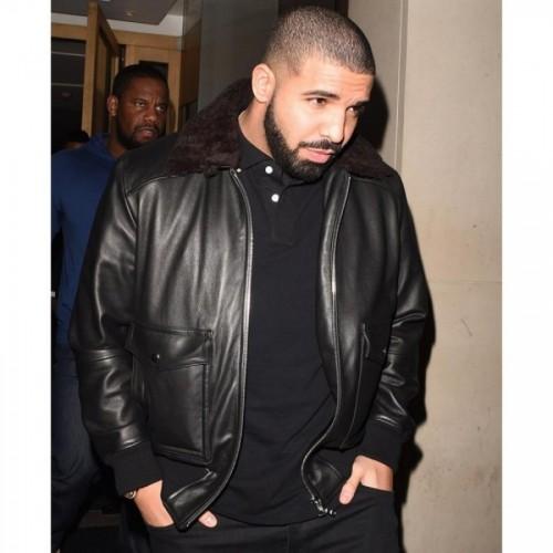 Drake Rapper Black Leather Jacket