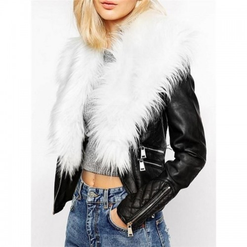 Fabulous Fur Collar With Flap Pockets Overcoats (White Fur)