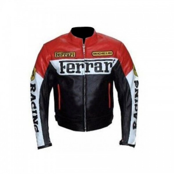 Ferrari Red And Black Leather Jacket