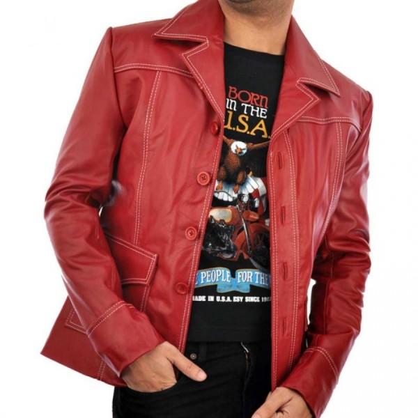 Fight Club Brad Pitt Red Leather Coat