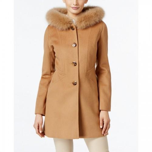 Fox-Fur-Trim Hooded Walker Coat