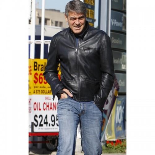 George Clooney Biker Style Leather Jacket
