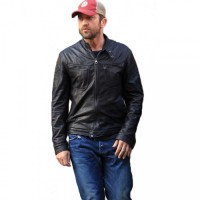 Gerard Butler Black Leather Jacket