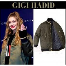 Gigi Hadid Green Khaki Bomber Jacket