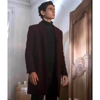 Gotham David Mazouz Burgundy Coat