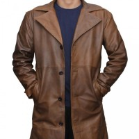 Jackson Mens Waxed Brown Trench Coat