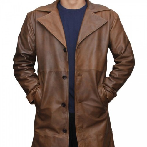 Jackson Mens Waxed Brown Trench Coat