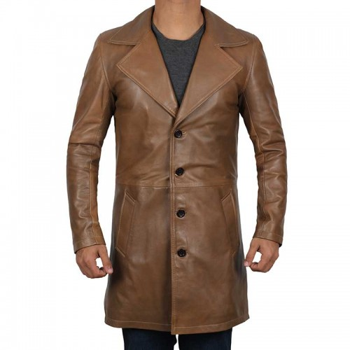 Jackson Wide Lapel Waxed Brown Leather Coat