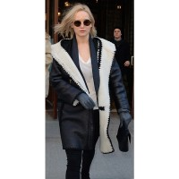Jennifer Lawrence Stylish Hoodie Leather Coat