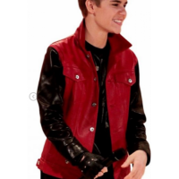Justin Bieber Black Sleeves Red Jacket